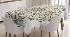 Dairesel Kahverengi Çiçek Desenli Masa Örtüsü Şık