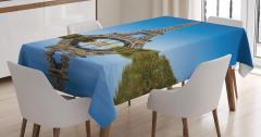 Eyfel Kulesi Temalı Masa Örtüsü Gökyüzü ve Nehir