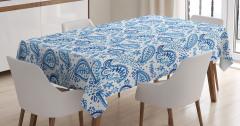 Mavi Beyaz Çiçekli Masa Örtüsü Şal Desenli Çeyizlik