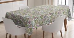 Yeşil ve Pembe Çiçekli Masa Örtüsü Şal Desenli