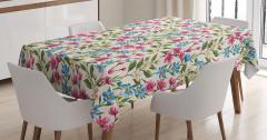 Pembe ve Mavi Çiçekli Masa Örtüsü Bahar Temalı