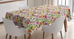 Gül ve Yaprak Desenli Masa Örtüsü Çiçekli Çeyizlik