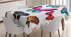 Rengarenk Kelebek Desenli Masa Örtüsü Çeyizlik