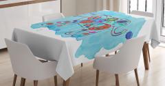 Fil Desenli Masa Örtüsü Mavi Sulu Boya Fonlu Çiçek