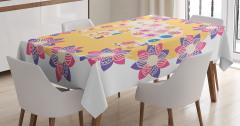Çiçek ve Fil Desenli Masa Örtüsü Rengarenk Sevimli
