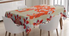 Turuncu Fil Desenli Masa Örtüsü Çiçek Süslemeli