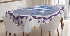 Mavi Fil Desenli Masa Örtüsü Mor Çiçek Süslemeli