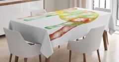 Fil Üstüne Çiçek Süslemeli Masa Örtüsü Sarı Yeşil