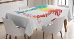 Rengarenk Zebra Desenli Masa Örtüsü Beyaz Fonlu
