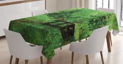 Yeşilin Huzuru Temalı Masa Örtüsü Ağaç Desenli Doğa
