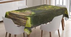 Yeşil Yol Manzaralı Masa Örtüsü Doğada Huzur Temalı