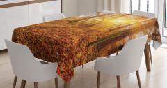 Sonbaharda Gün Batımı Temalı Masa Örtüsü Yapraklar