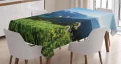 Göl Manzaralı Masa Örtüsü Karlı Dağ ve Orman Temalı