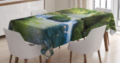 Çağlayan Manzaralı Masa Örtüsü Nehir Temalı Yeşil