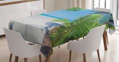 Palmiyeler ve Issız Ada Temalı Masa Örtüsü Yaz