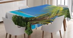 Issız Cennet Temalı Masa Örtüsü Egzotik Ada Palmiye