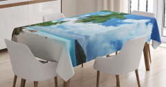 Ada ve Gökyüzü Manzaralı Masa Örtüsü Palmiye Kumsal