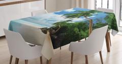 Egzotik Kumsal Manzaralı Masa Örtüsü Palmiyeli