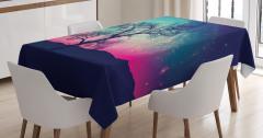 Uzay Temalı Masa Örtüsü Ağaç ve Rengarenk Gökyüzü