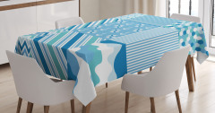Mavi Kumaş Desenli Masa Örtüsü Çizgili Marin Temalı