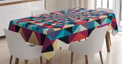Geometrik Retro Desenli Masa Örtüsü Rengarenk