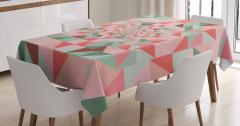 Pembe Yeşil Üçgenler Desenli Masa Örtüsü Geometrik