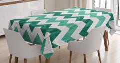 Yeşil Zikzak Temalı Masa Örtüsü Geometrik Desenli
