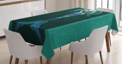 Deniz Kızı Desenli Masa Örtüsü Mavi Yeşil Siyah Fon