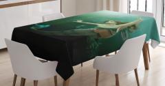 Yeşil Deniz Kızı Desenli Masa Örtüsü 3D Etkili