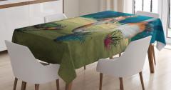 Deniz Kızı ve Kaplumbağa Desenli Masa Örtüsü 3D