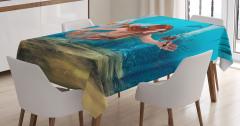 Çiçekli Deniz Kızı Desenli Masa Örtüsü Mavi 3D