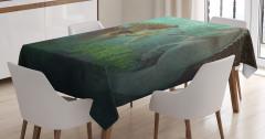 Deniz Kızı ve Denizatı Desenli Masa Örtüsü Yeşil