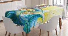 Dalga ve Deniz Kızı Desenli Masa Örtüsü Mavi Sarı