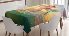 Keman Çalan Deniz Kızı Desenli Masa Örtüsü Fantastik