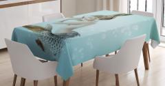 Sarı Saçlı Deniz Kızı Baskılı Masa Örtüsü Mavi