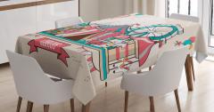 Çocuklar İçin Masa Örtüsü Rengarenk Sirk Desenli