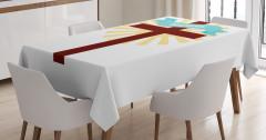 Kutsal Haç ve Vaftiz Desenli Masa Örtüsü Beyaz Sarı