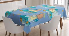 Bulutlarda Oynayan Tatlı Bebek Melekler Masa Örtüsü