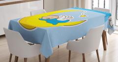 Ayın Üzerinde Bebek Desenli Masa Örtüsü Vaftiz