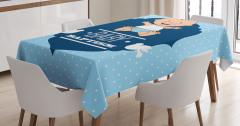 Erkek Bebek Vaftiz Töreni Temalı Masa Örtüsü Mavi