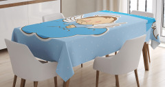 Çocuk Melek ve Bulut Desenli Masa Örtüsü Mavi
