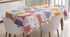 Rengarenk Kedi Desenli Masa Örtüsü Turuncu Mor Pembe
