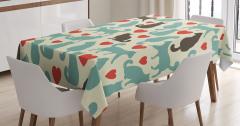 Romantik Kediler Temalı Masa Örtüsü Aşk Kırmızı Bej