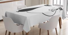 Sevimli Kedi Ailesi Temalı Masa Örtüsü Siyah Beyaz