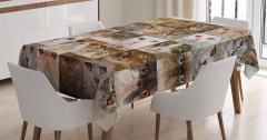 Kedi Resimleri Kolajlı Masa Örtüsü Sevimli Dostlar