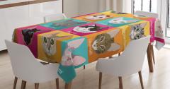 Rengarenk Kedi Türleri Kolajlı Masa Örtüsü Tasarım
