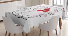 Kedi Severler için Masa Örtüsü Pembe Beyaz Sevgi