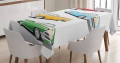 Rengarenk Klasik Araba Desenli Masa Örtüsü Nostaljik