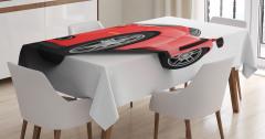 Kırmızı Yarış Arabası Temalı Masa Örtüsü Spor