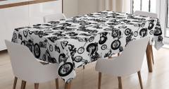 Siyah Beyaz Motosiklet Desenli Masa Örtüsü Retro